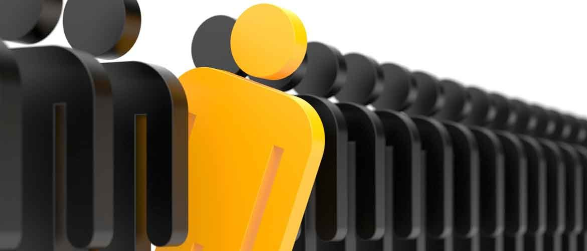 a row of black people-icons with one yellow one sticking out